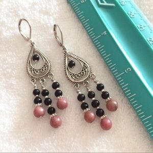 Jewelry - Pink Rhodonite And Black Onyx Silver Earrings